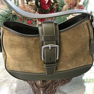 COACH OLIVE GREEN SUEDE AND LEATHER BAG
